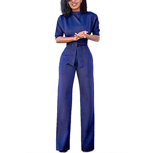 Eiffel Women's One Shoulder Wide Leg Jumpsuits Rompers Long Pants Bodysuit ((US 8-10) Medium, Blue)