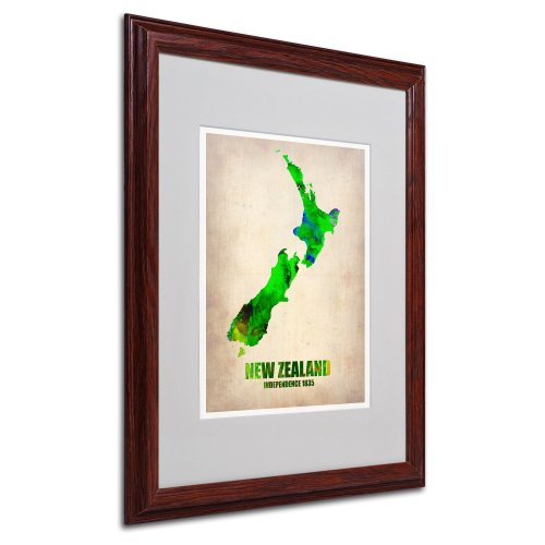 New Zealand Watercolor Map by Naxart Matted Framed Art, 16 by 20-Inch, Wood Frame (Framed Map Of New Zealand)