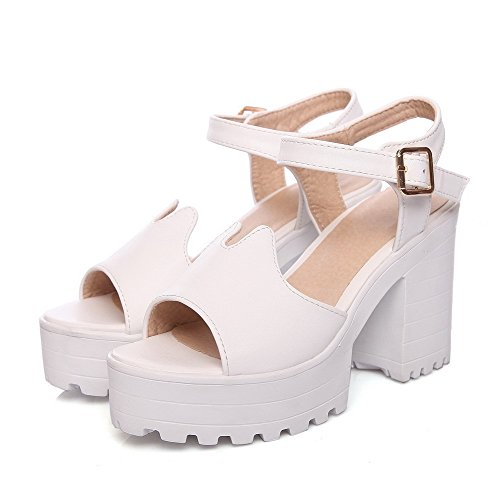 AllhqFashion Womens High Heels Solid Buckle Soft Material Open Toe Heeled-Sandals White fhC1hQ6