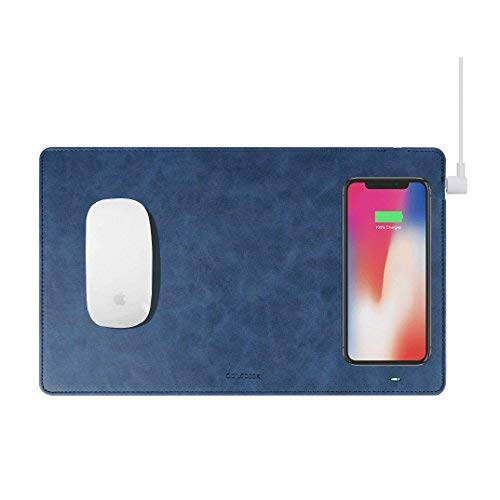 GAZEPAD Qi Wireless Fast Charging Mouse Pad Mat for iPhone X iPhone 8 Galaxy S8 S9 Plus Samsung Note 8 9 (Midnight Blue)