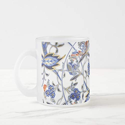 (Zazzle Blue Onion Vintage China Pattern Frosted Glass Coffee)