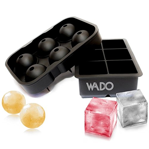 Wado Combo Large Square & Round Ice Cube Mold Silicone Tray Jumbo Giant Square and Sphere for Ice Ball 100% Food Grade Silicone and BPA Free(Set of 2) (Ball Jello Mold)