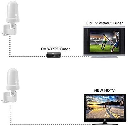 1byone Antena de TV Interior/Exterior, Omnidireccional Antena de TV Digital para Receptor HDTV/DVB-T, VHF/UHF/FM, TDT Digital y señales de TV ...