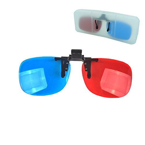 Red-Blue /3D Glasses Clip with Box Case Glasses for 3D TV 3D Movie Game Clip Glasses