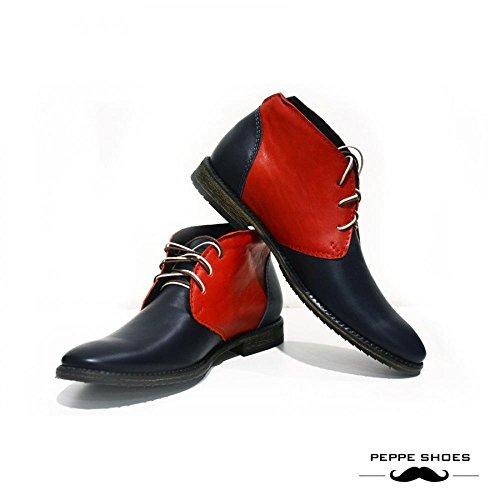 Peppeshoes Model Bari - Bottes Chukka En Cuir Italien Fait Main Italien - Cuir De Vachette Souple - Lace Up