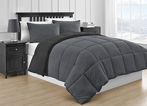 Comfy Bedding Reversible Microfiber Black & Gray 3-Piece Comforter Set (Queen, Black & Gray) (Black And Gray Bedding Sets)