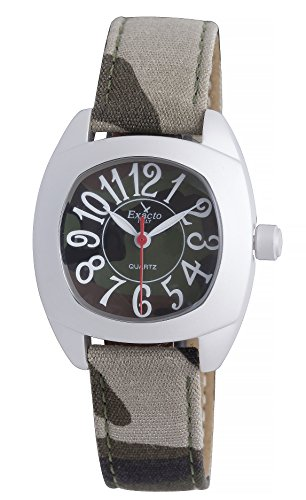 Haurex Italy Kid's 8882J Exacto Square Camouflage Canvas Wristwatch by Haurex