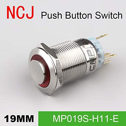 B07RDZCFGV 19mm Metal Push Button Switch IP67 Maintained Alternate & Momentary push button switch with LED lamp 5A - (Color: Green, Voltage: 110V, Size: Stainless Stell, Number: 1-Gang, Standard: Momentary) 413bZuPoC7L