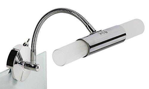 Trango TG2162-028B Spiegelleuchte Wandleuchte Chrom Design Bad Lampe Badleuchte ON/OFF Schalter inkl. 28W G9 ECO-LM (statt 40W)