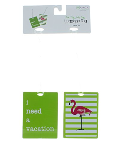 Miamica Luggage Tags 2 Piece Set - Flamingo Print, Lime Green, One...