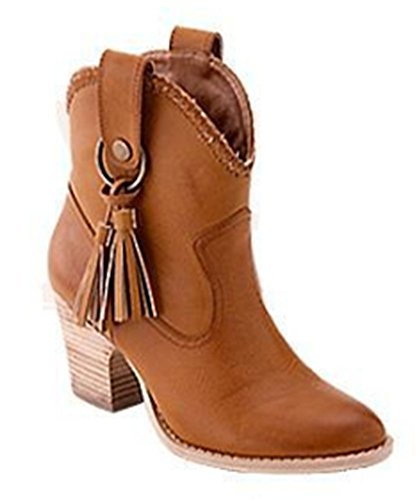 Boots Chunky Fringed Heel Aisun Women's high Ankle Brown Stylish pqwgfU01