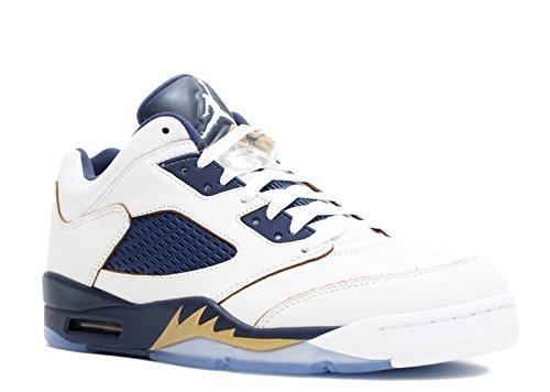 Nike Air 5 Retro bassa scarpa da basket Bianco-Blu marino