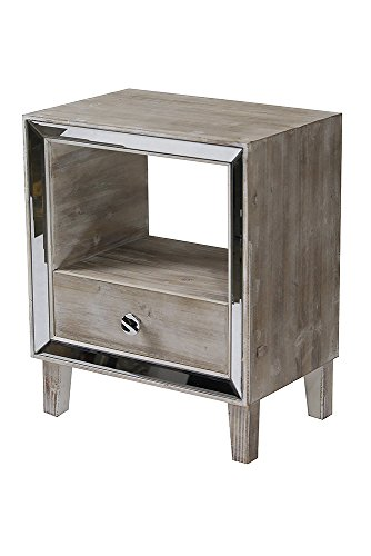 Heather Ann Creations Bon Marche Series 1 Drawer 1 Open Shelf Small Space Saving Wooden End Table with Mirrored Trim, Whitewash by Heather Ann Creations