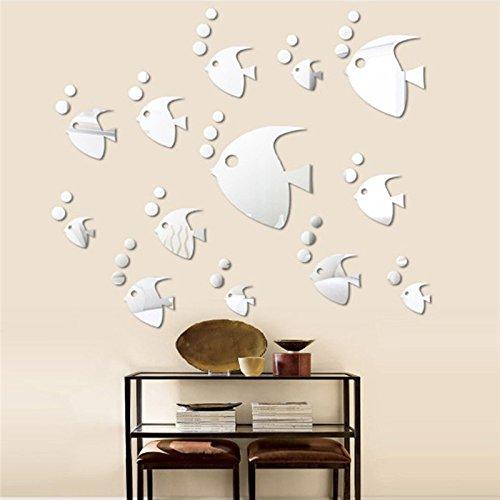 (s - 10pcs Set Fashion Animal Sea Tropical Fish Sticker Acrylic Mirror Diy Home Decor Kids Room Wall - Backsplash Sheets Diamond Adhesive Lights Small Roll Gold Sqaures Designs Mura)