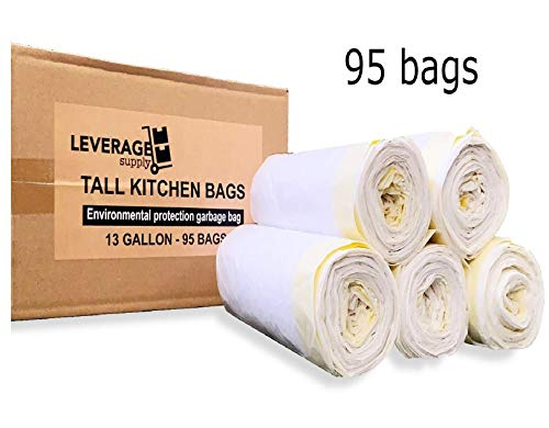 Eco Friendly: 13 Gallon Tall Kitchen Drawstring Strong Trash Bags (95 Counts) - Leverage Supply