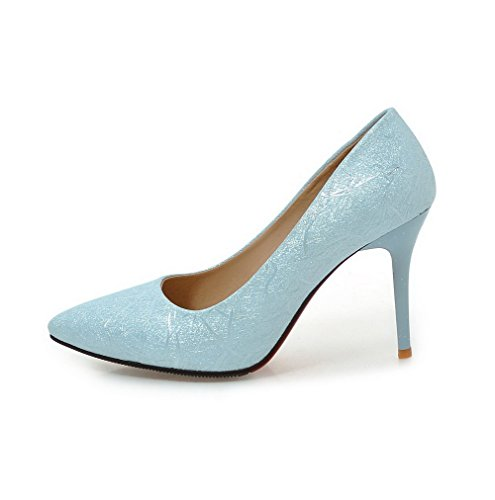 Odomolor Women's Pointed-Toe Pu Soild Spikes-Stilettos Pumps-Shoes Blue 3Z42x