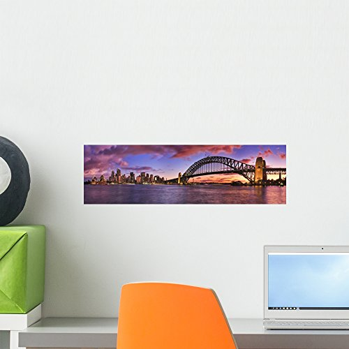Wallmonkeys WM360866 Sydney Cbd Milsons Left Pier Panorama Peel and Stick Wall Decals (18 in W x 5 in H), Small