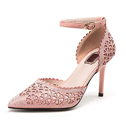 Grande Tamaño Cristal Pink Hoesczs Estrecha Casuales Nuevas Sólido Tacones Mujer De Zapatos Delgadas Mujeres 32 Altos Sandalias Punta Tobillo 40 Correa Del 8TpUq8