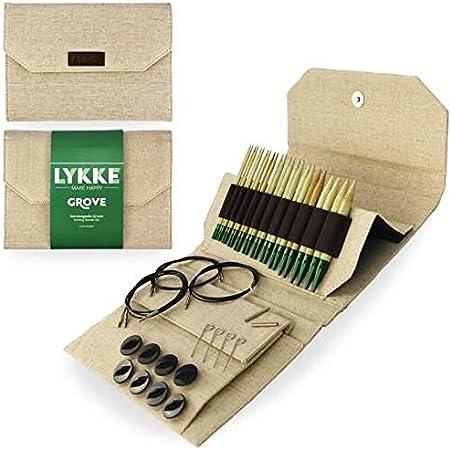 LYKKE Grove - Juego de agujas de tejer circulares intercambiables de bambú con puntas 12,7 cm. Tela de yute beige.: Amazon.es: Hogar