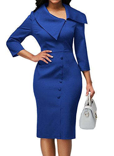 Work 3 Lapel Elegant Sheath Blue to Dress Wear Sleeve Office 4 Dearlove Women's 5XE1wqw8
