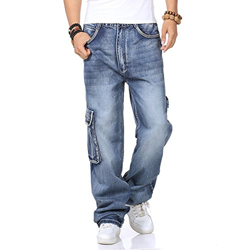 Men's Jeans Cargo Pants Relaxed Fit Big & Tall Casual Baggy Plus Size 32L 30-46W (44, 5 (Big Baggy Denim)