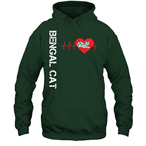 Bengal Cat T Shirt - Bengal Cat in My Heart Tee Shirt Hoodie (XL,Forest)