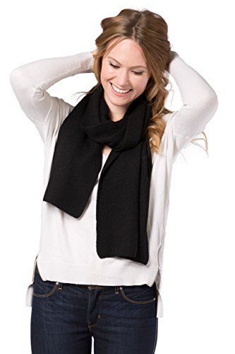 Ribbed Cashmere Scarf (Fishers Finery Women's 100% Cashmere Ribbed Knit Scarf; Cozy and Soft (Black))