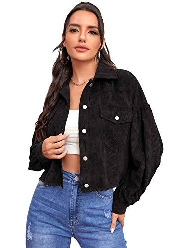 Floerns Women's Long Sleeve Button Up Corduroy Jacket Coat