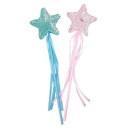 Mydio 2 Pack Fairy Star Princess Wands,Kids Magic Wand,Pink and Blue