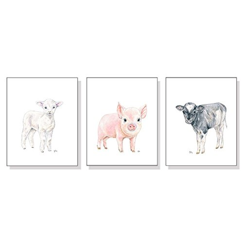 Farm Nursery Decor, Farm Nursery Wall Art Prints Set of 3, Baby Animal Watercolors, Kids Room Girls Boys, Farmyard Lamb Pig - Mail Priority Usps International