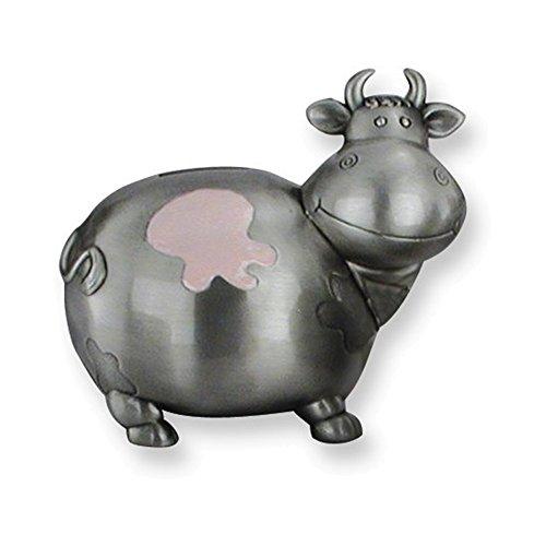 Pink Enameled Cow Metal Bank (Enameled Italian)