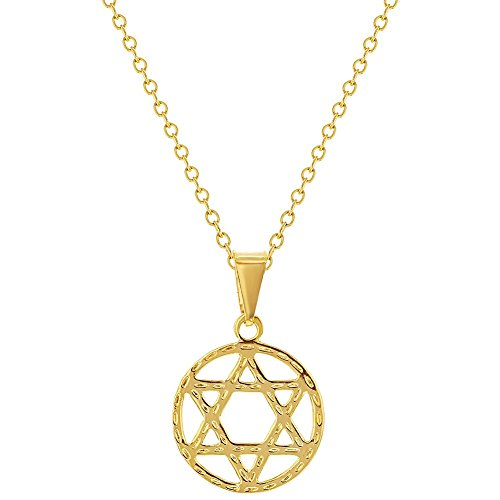 In Season Jewelry 18k Gold Plated Jewish Star of David Medal Pendant Women's Necklace ()