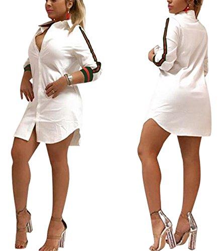 Club T-shirt White (Women's Girls Spring Autumn Sexy Fashion Long Sleeve Striped Printed Loose Tees Tunic Top Basic T-Shirts Blouse Club Dress White XL)