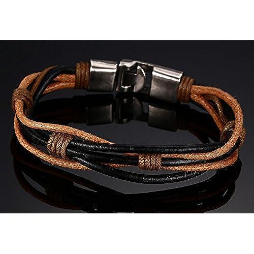 c0dcb9f95387 joielavie Wrap trenzado de joyas pulsera Multi Capa hebilla de aleación de  piel auténtica marrón de