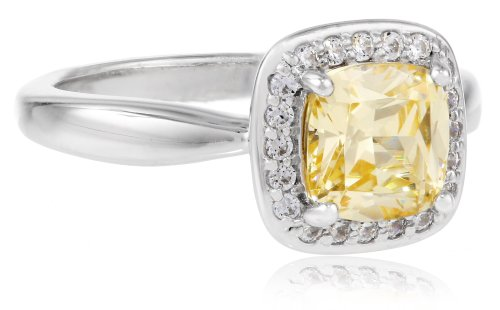 Myia Passiello Cushion-Cut Canary Swarovski Zirconia Halo Ring