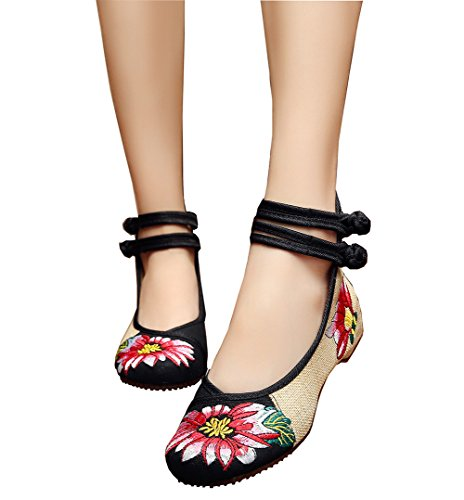 Womens Folk Style Shoes Rubber Sole Peony Embroidered Bride Flats(Black,39) (Peony Dress Style Bride)