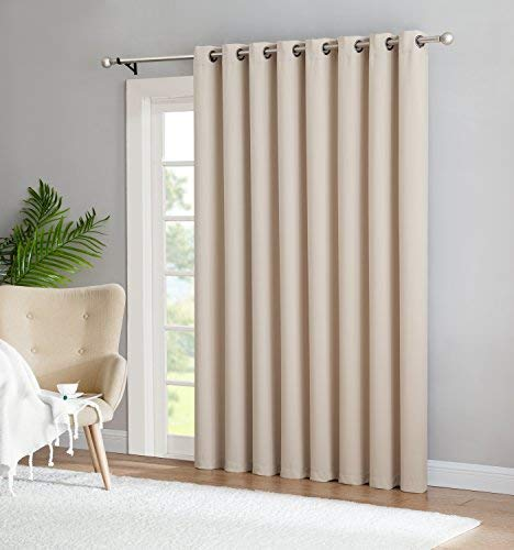 Nicole - 1 Patio Extra Wide Premium Thermal Insulated Blackout Curtain Panel - 16 Grommets - 102 Inch Wide - 84 Inch Long - Ideal for Sliding and Patio Doors (1 Panel 102x84, Ivory)