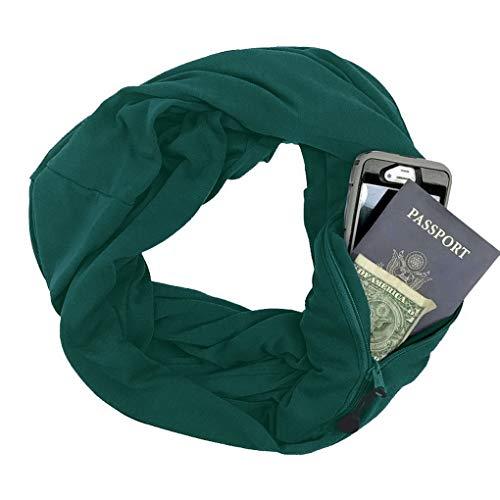 oculta color Scarf para mujer bolsillo hombre con Infinity y liso cremallera Acmede verde oscuro en con vqRwYfx8g