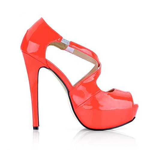 CM CM Runde Frühlingsherbst Plattform High 4U Heels Schuhe 14 Schnalle Beste Stiletto Lackleder Damenschuhe Kappe 3 Orange Uv7qpA