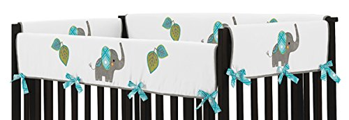 Sweet Jojo Designs 2-Piece Mod Elephant Teething Protector Cover Wrap Baby Crib Side Rail Guards