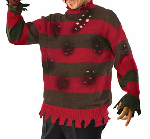 Forum Novelties Men's Deluxe Adult Plus Freddy Sweater, Red/Brown, X-Large