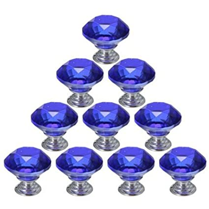 10 PCS Blue 40mm Flat Round Crystal Glass Cabinet Door Knobs Cupboard Drawer Cabinet Furniture Kitchen Wardrobe Dresser Diamond Cut Pull Handle