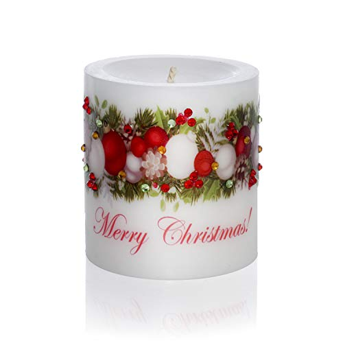 Sam & Wishbone Christmas Candles Home Decorations Luxury Pillar Candle. Our Candles Will Make Your Holidays Merry and Bright. (Ornament) ()