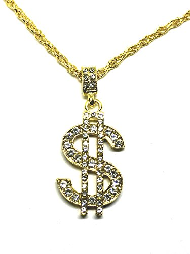 Zizii Iced Out Gold Finish Bling $ Dollar Sign Pendant Hip Hop Gold Plated Chain
