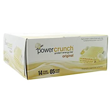 Power Crunch Original Protein Energy Bar, French Vanilla Crme – Box of 12 Wafer