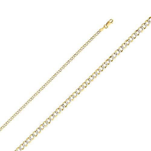 Wellingsale 14k Two Tone Yellow and White Gold SOLID 2.7mm Polished Cuban Concaved Curb White Pave Diamond Cut Chain Necklace with Lobster Claw Clasp - - Curb 180 Pave Chain Necklace