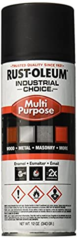 Rust-Oleum 1676830 1600 System Multi-Purpose Enamel Spray Paint, 12-Ounce, Ultra-Flat Black (Painters Touch Flat Black)