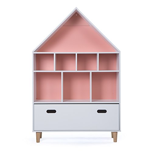 LUCKUP Kids Furniture Children Dollhouse Cottage Wood Tall Sturdy and Adorable Shelf Bookcase with Drawer, Two Color Choice(Sky Blue or Baby Pink) (50''Hx32''Lx12''W) by LUCKUP