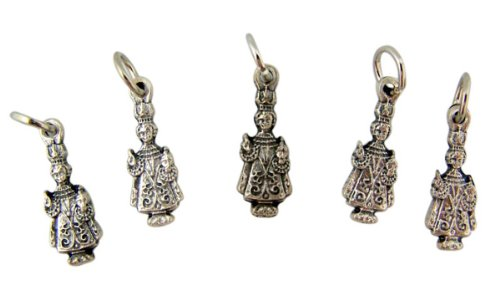 Lot of 5 Infant of Prague Child Christ 3/4 Inch Silver Tone Silhouette Medal ()
