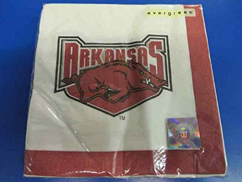 Arkansas Razorbacks NCAA Napkins Football Game Day Sports Themed College University Party Supply NFL SEC Basketball Napkins for Beverage for 20 Guests Claret White Paper Napkins ()
